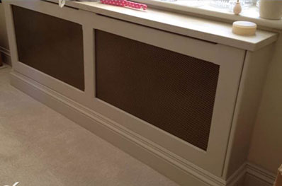Large white radiator cover